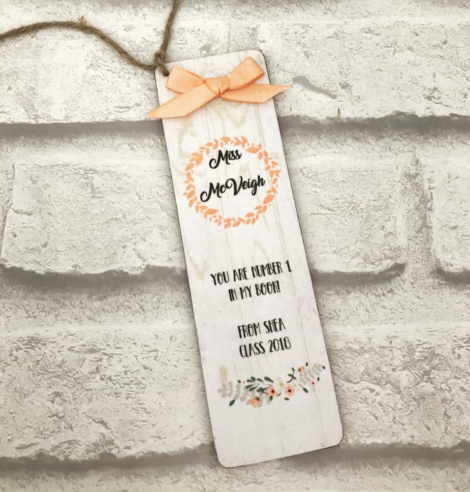 Bookmark - personalised - rustic peach