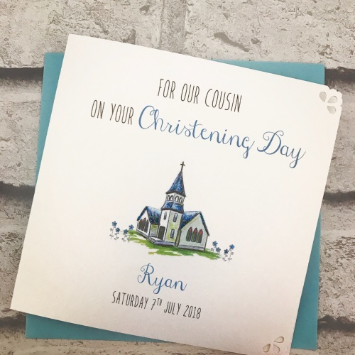 Christening Day Card Personalised - cute church - boys version