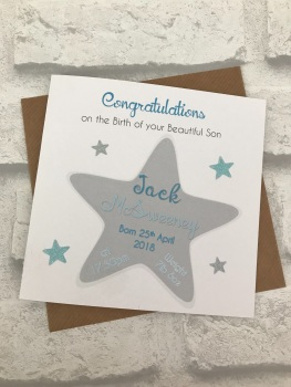New Baby Congratulations Card with Birth Details - Star