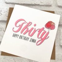 Birthday card - Age with balloons - personalised