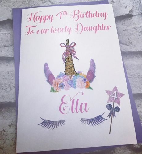 Unicorn Glitter Birthday Card with age wand Large