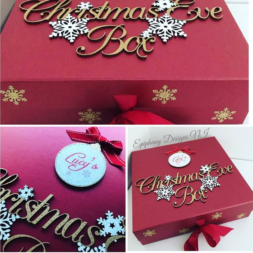 christmas eve box red with vintage writing