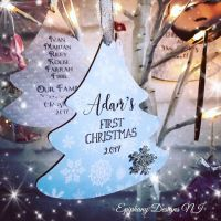 Personalised 1st Christmas Tree Dangly 12cm Blue