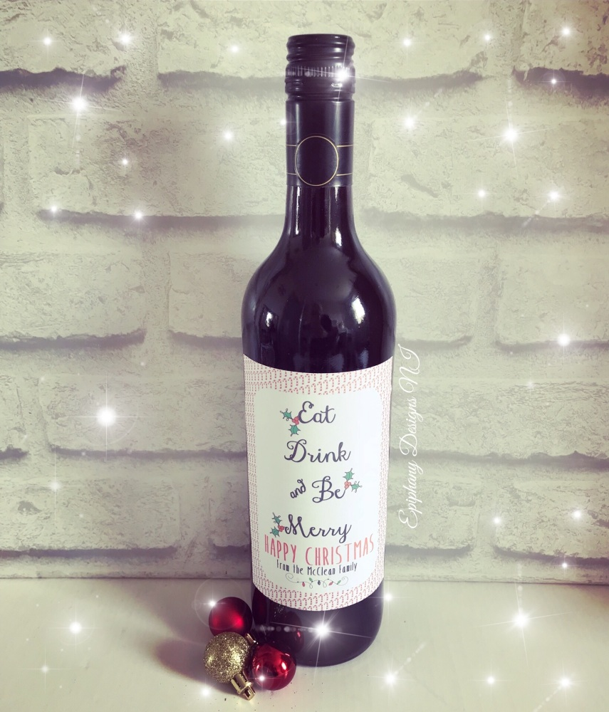 Christmas Wine or Prosecco Bottle Labels - personalised