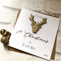 First Christmas Married Personalised Card with Glitter Stag