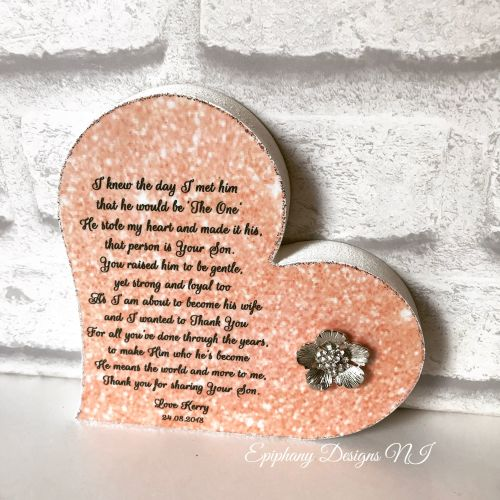 Mother of the Groom Freestanding Heart Coral Poem 2
