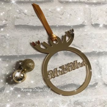 Mirrored Antler Personalised Bauble Gold