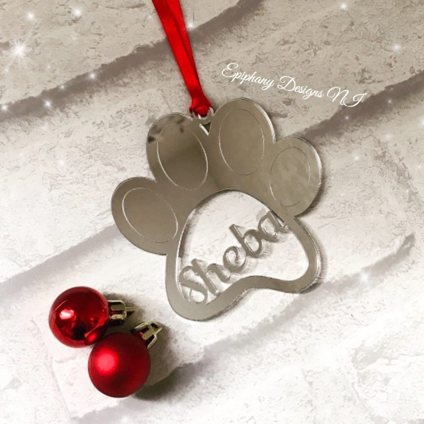 paw bauble silver mirror