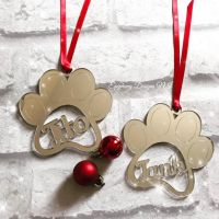 Mirrored Paw Personalised Bauble