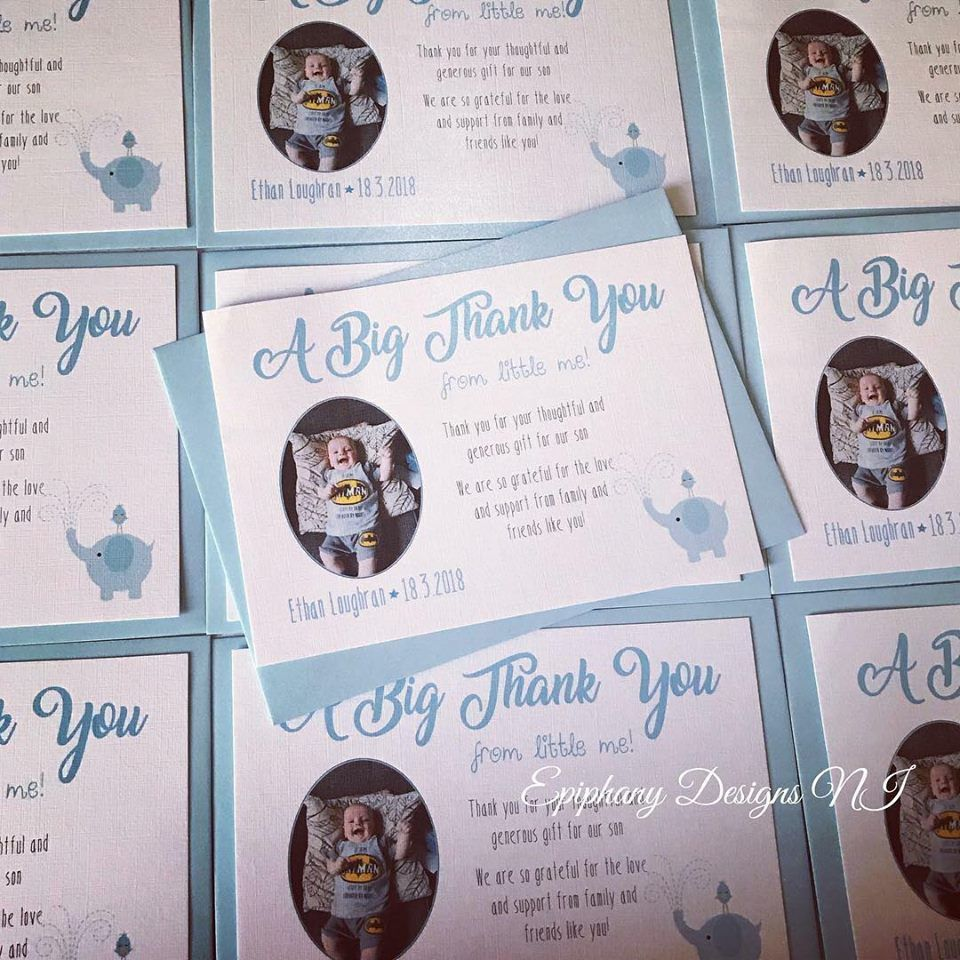 Baby Boy Thank You Postcard with Photo -  Pack 10 - A Big thank you from little me