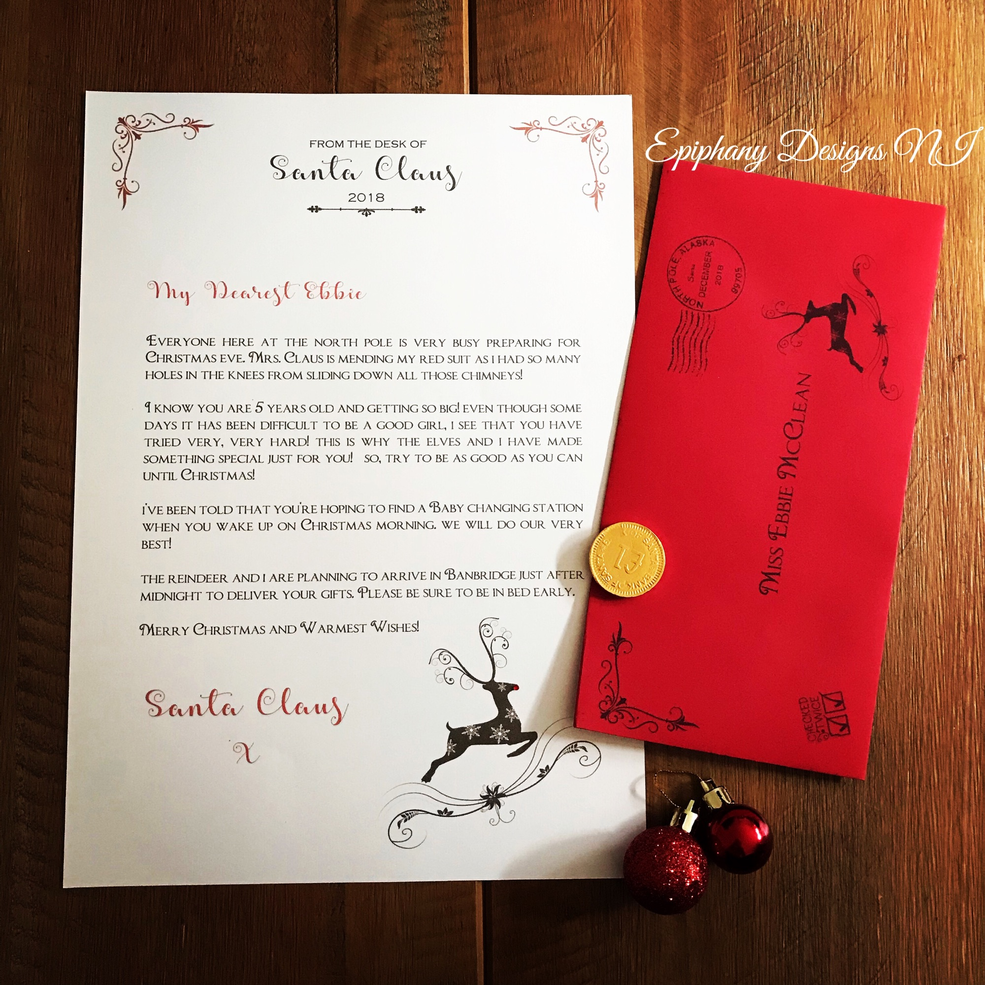 Personaised Santa letter 2018 golden pearl paper with red envelope