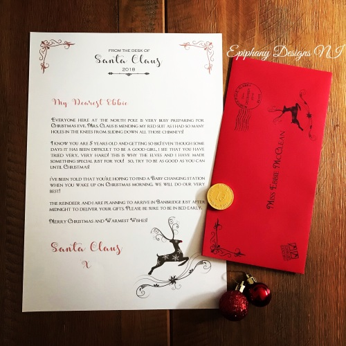 Personalised Letter from Santa with Chocolate coin - Reindeer design
