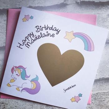 Scratch to Reveal Birthday Card - Unicorn design