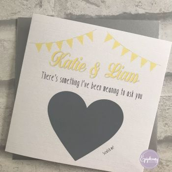 Will you be my Godparent Scratch card - Bunting Yellow