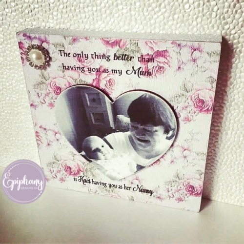Mothers Day - Freestanding Block with Heart Photo and Quote