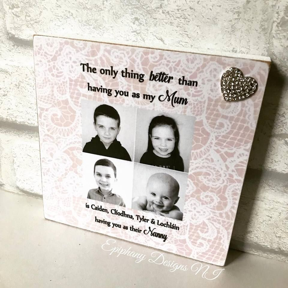 mothers day freestanding photo block with quote and heart brooch