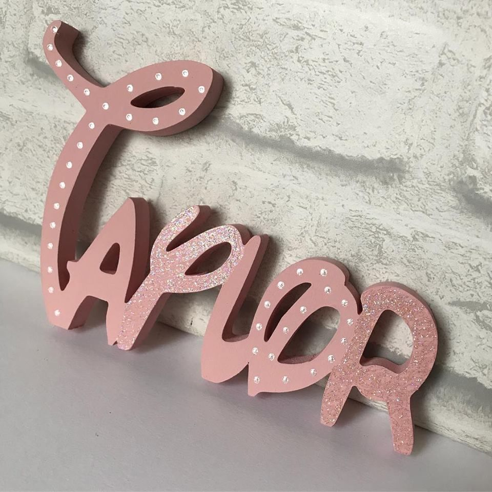 kids bedroom disney style wooden name 10cm