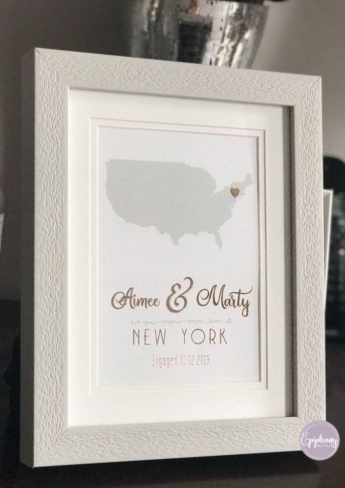 Foil Print - Engagement - Personalised (framed/unframed)