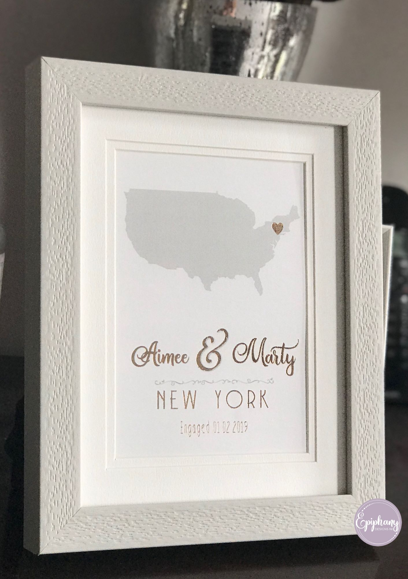 Engagement Foil Print - Country & City engaged