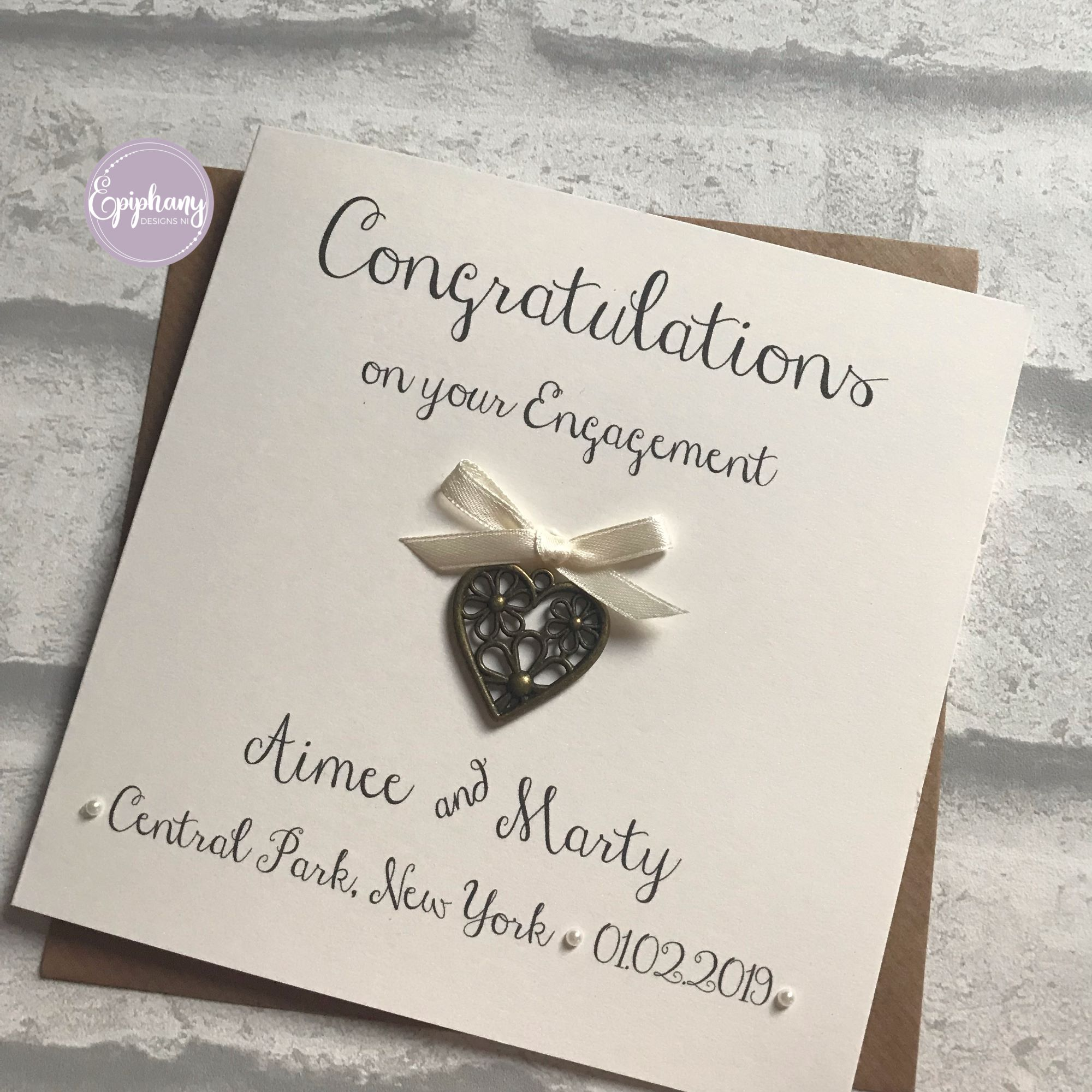 Rustic Engagement Congratulations Card with antique heart
