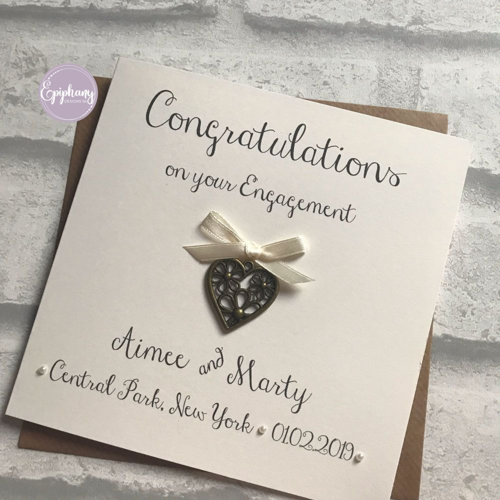 Chic Boutique Range Engagement Congratulations Card - rustic with antique h