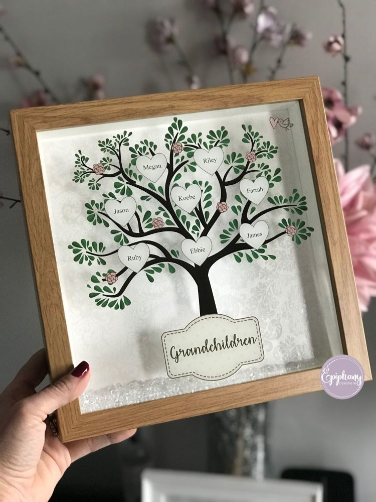NEW Printed Family Tree Frame with scatter crystals