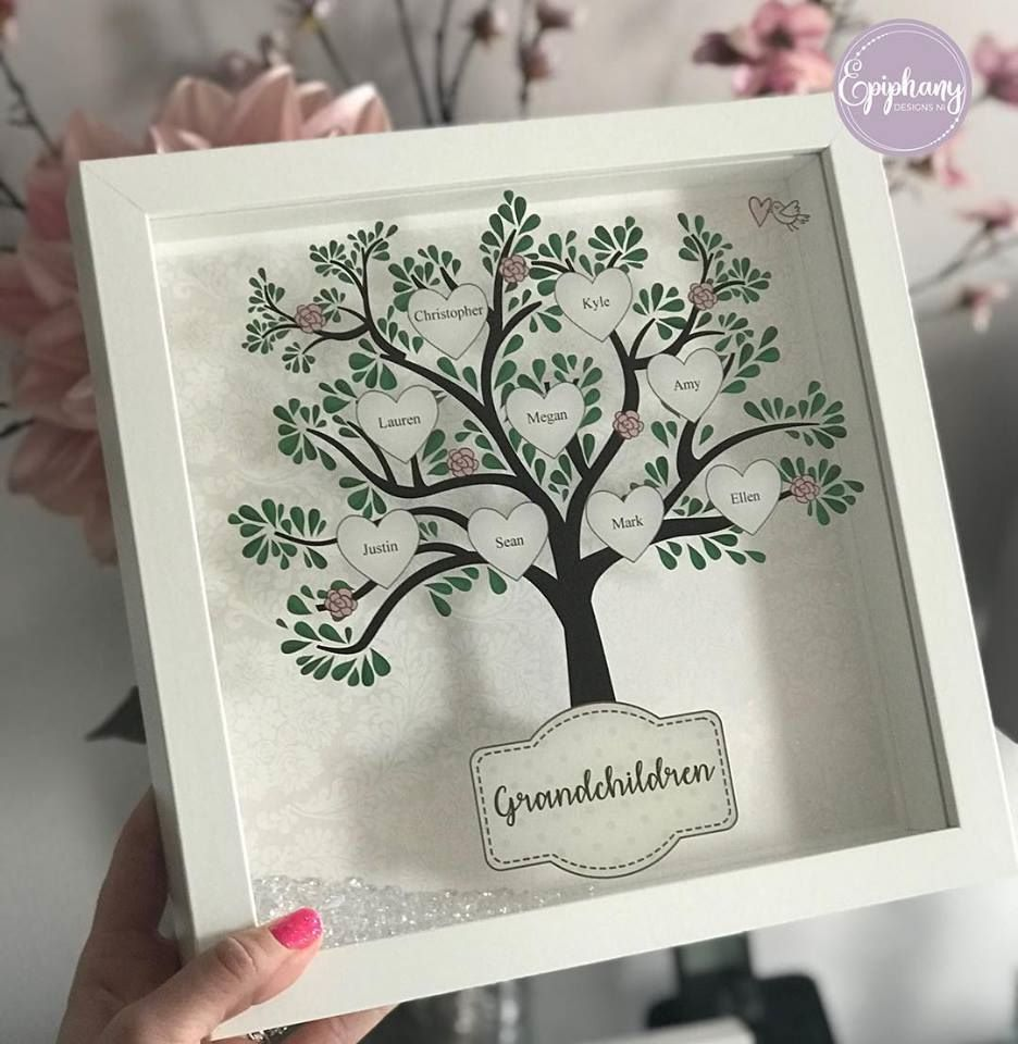 printed family tree frame white