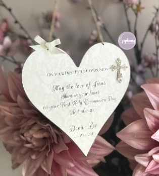 Personalised First Holy Communion Gift Confirmation Heart Plaque Sign