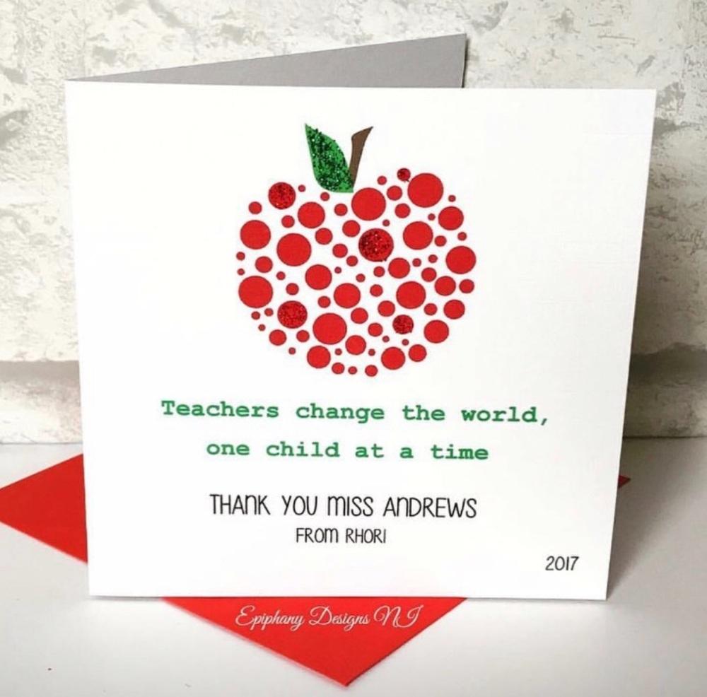 Teacher / Classroom Assistant Thank you Card Dotty Apple