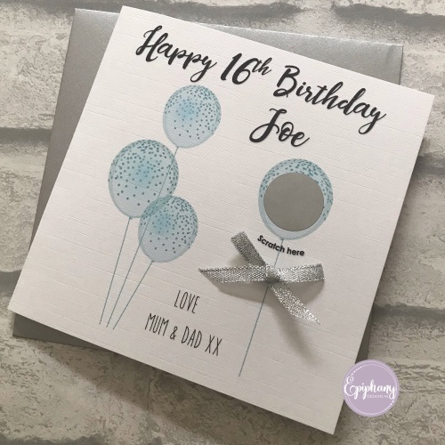 Scratch the Balloons Birthday Card -Silver/Blue