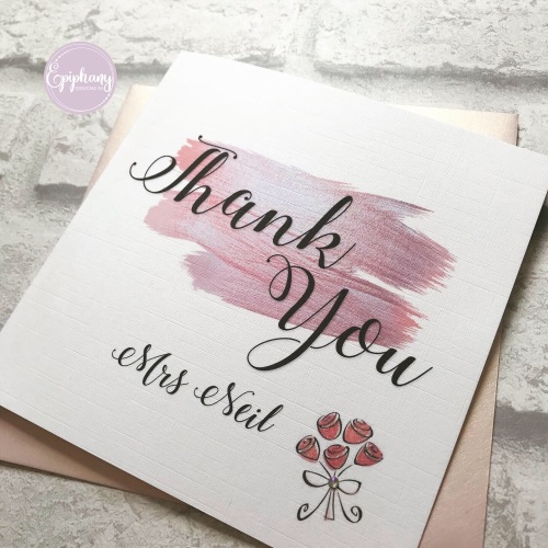 Thank you card - Personalised - Rose gold