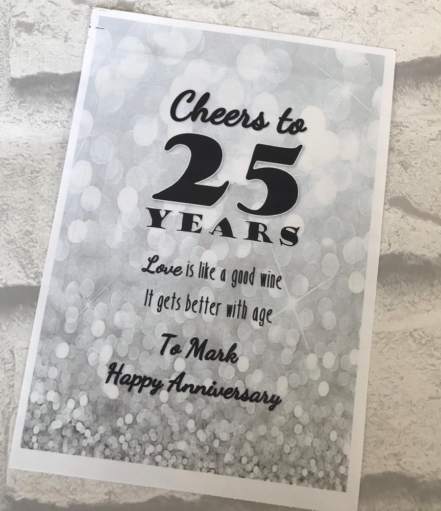 Anniversary Wine or Prosecco Bottle Labels
