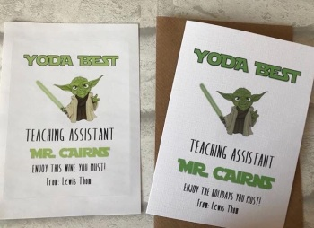 Yoda Best Teacher/Classroom assistant appreciation wine label