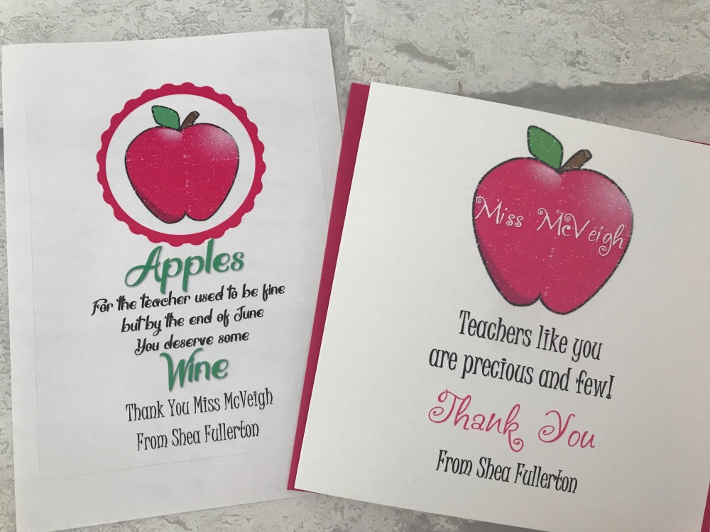 Pink Apple Teacher Appreciation wine label and card