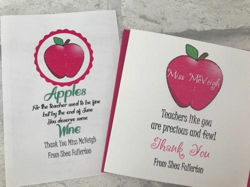Pink Apple Teacher Appreciation wine label and card