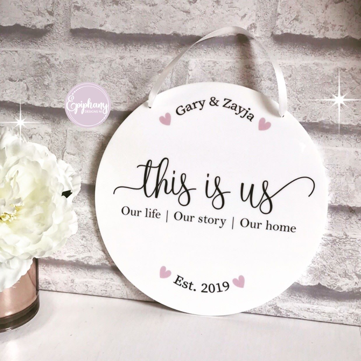 This is us - white acrylic disc