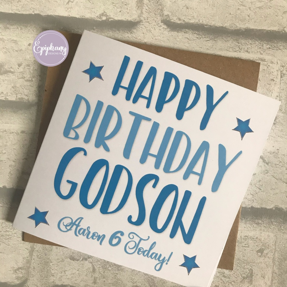 Godson, Goddaughter Birthday Card Typography