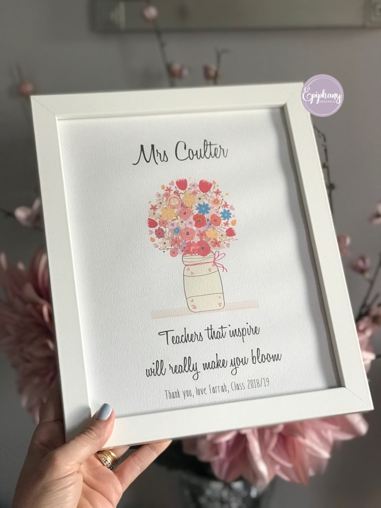Teachers that inspire really make you bloom - personalised end of term gift
