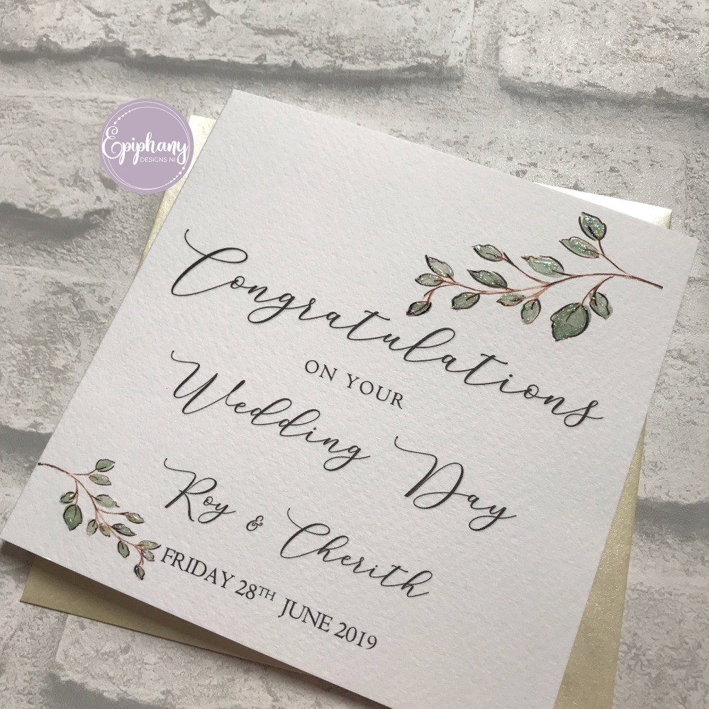 Chic Boutique - Floral Frame Wedding Congratulations Card