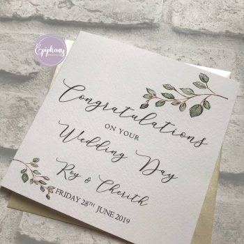 Chic Boutique -  Wedding Congratulations Card - succulents