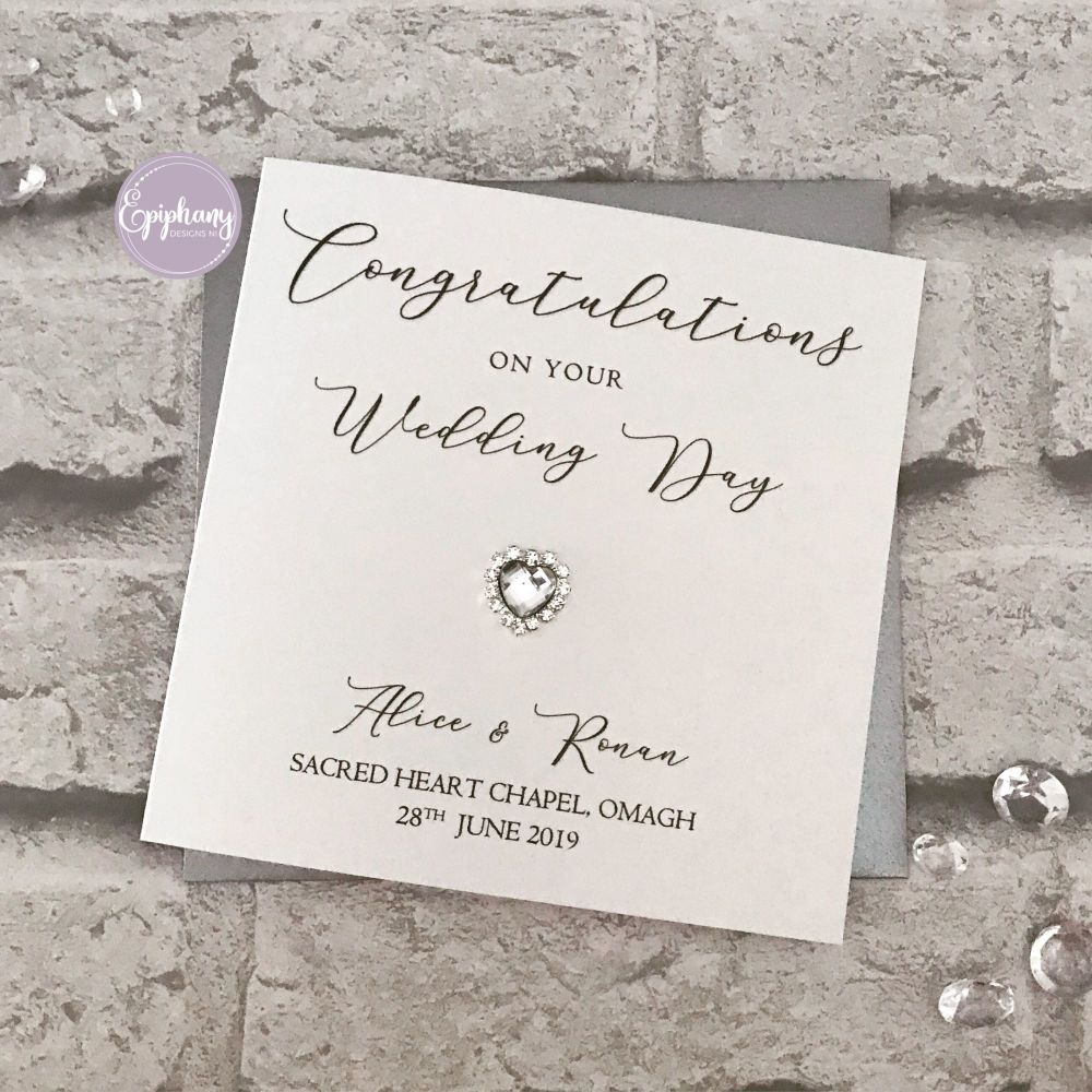 Chic Boutique Range - Wedding Day Congratulations - script with heart brooc