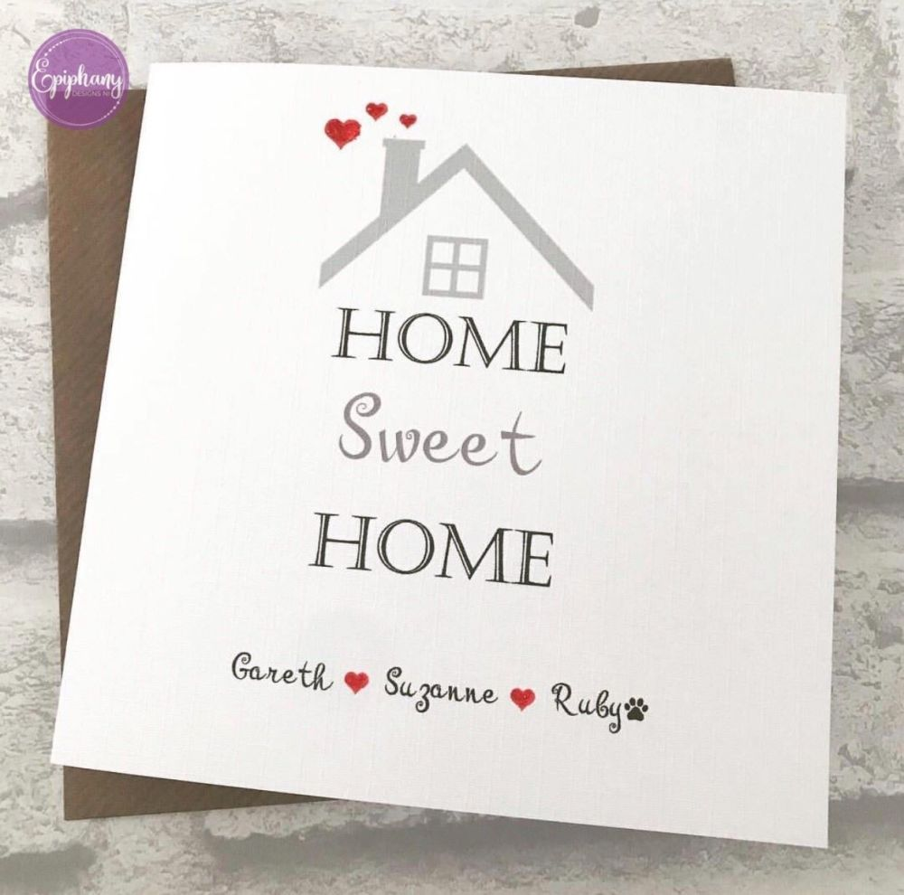 """New Home Card Personalised """"Home Sweet Home"""""""