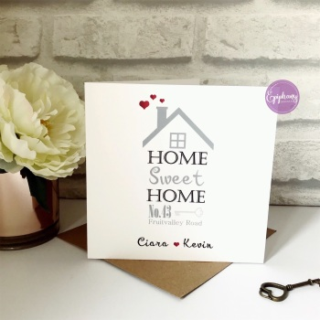 "New Home Card with Address ""Home Sweet Home"""