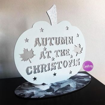 Freestanding Autumn at the .....pumpkin sign - Grey