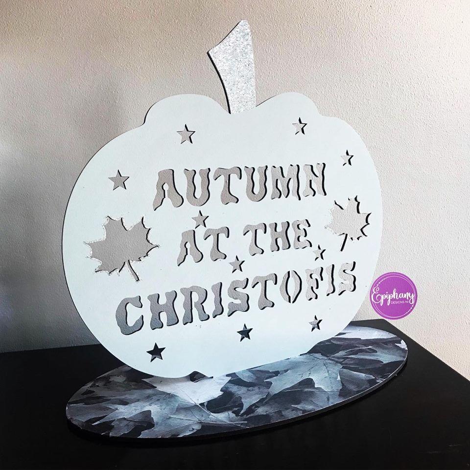 Freestanding Autumn at the .....pumpkin sign -Grey