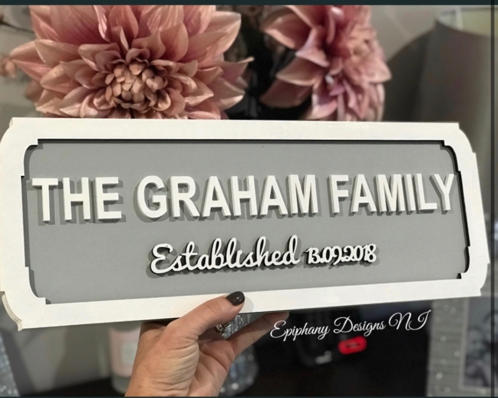 Personalised Wooden Street Sign with script names - wall hanging