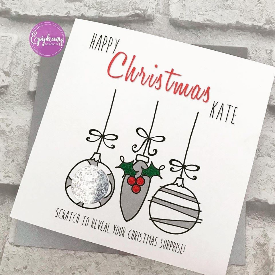 christmas scratch card bauble silver