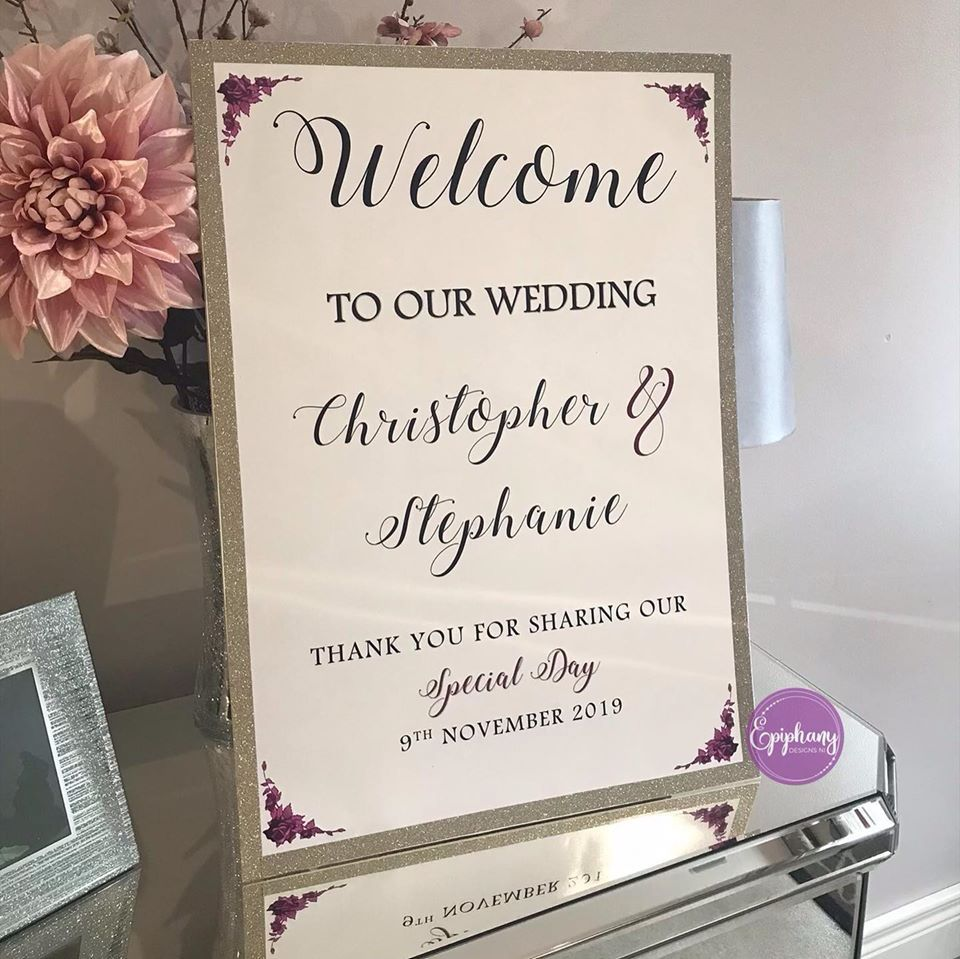 welcome sign champagne glitter,  purple