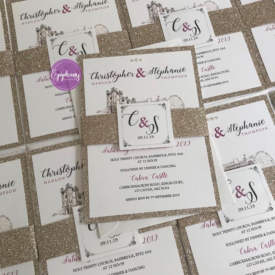 wedding invite champagne glitter, belly band with purple