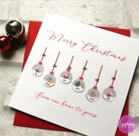 Family Christmas Card Personalised Baubles
